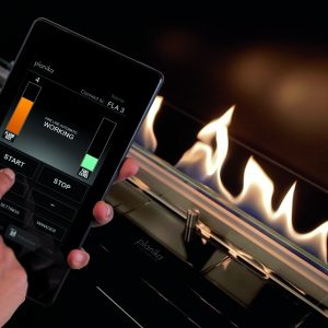 Wi-Fi remote control used to control heat and the height of the fire